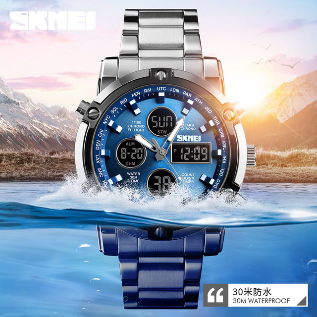 Free shipping 50M waterproof mens double movement watch mens sports watch mens outdoor watch large multi function watch