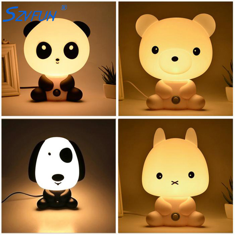 Panda/Rabbit/Dog/Bear Baby Night Light Plug Cartoon Animal 3D Lamp EU Nursery Children's Bedroom Toys Gifts Decorative Lights