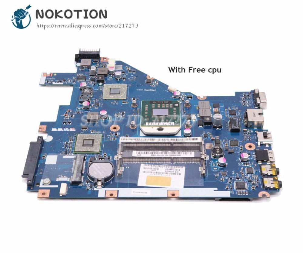 NOKOTION Laptop Motherboard For Acer Aspire 5552G 5552 MAIN BOARD NV50A MBR4602001 PEW96 LA-6552P Free Cpu