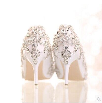 ФОТО 2016 Shoes Woman  Wedding Shoes Glass Slipper Diamond Bridal Shoes White Thin High-heeled Pointed Rhinestone Single Shoes Pumps