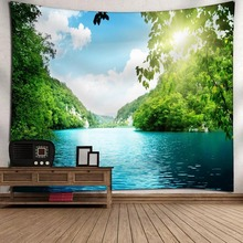 Green Landscape Wall Hanging Tapestry Nature Tree Painting Clothes Background Decorative Rectangular Tapestry Dropship landscape wall hanging tree and elephant print tapestry