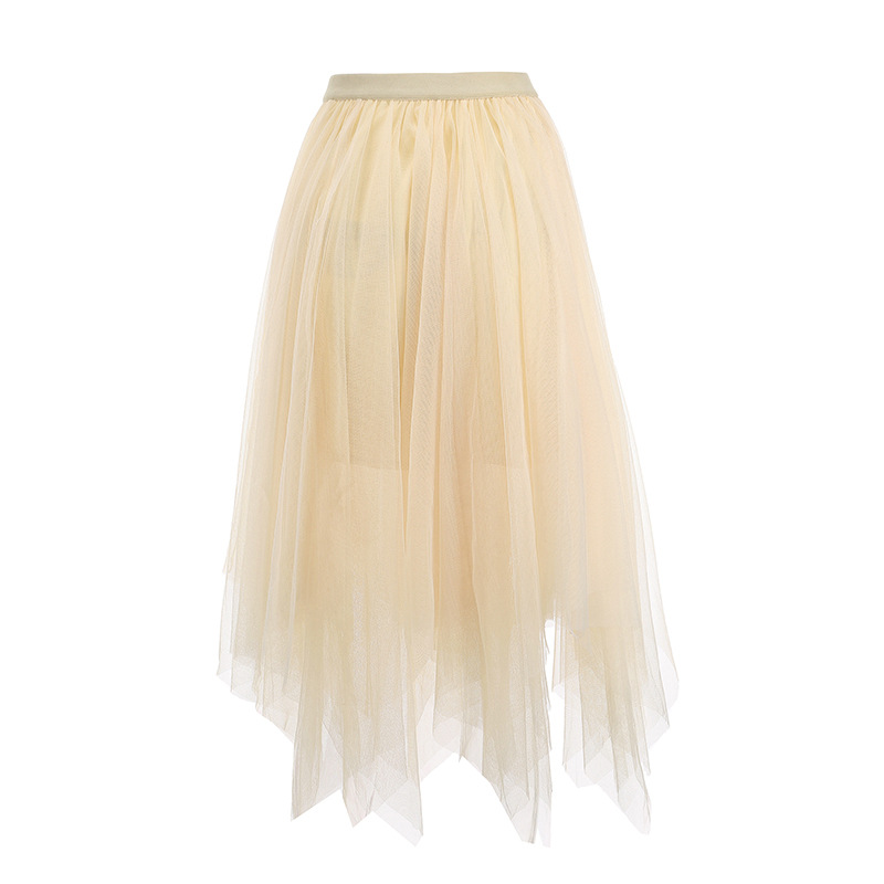 ZOGAA Mesh Ruffled High Waist Chiffon Women Long Skirt Solid Pleated Summer New Skirt Slim Fit Casual Female Lining Midi Skirt in Skirts from Women 39 s Clothing