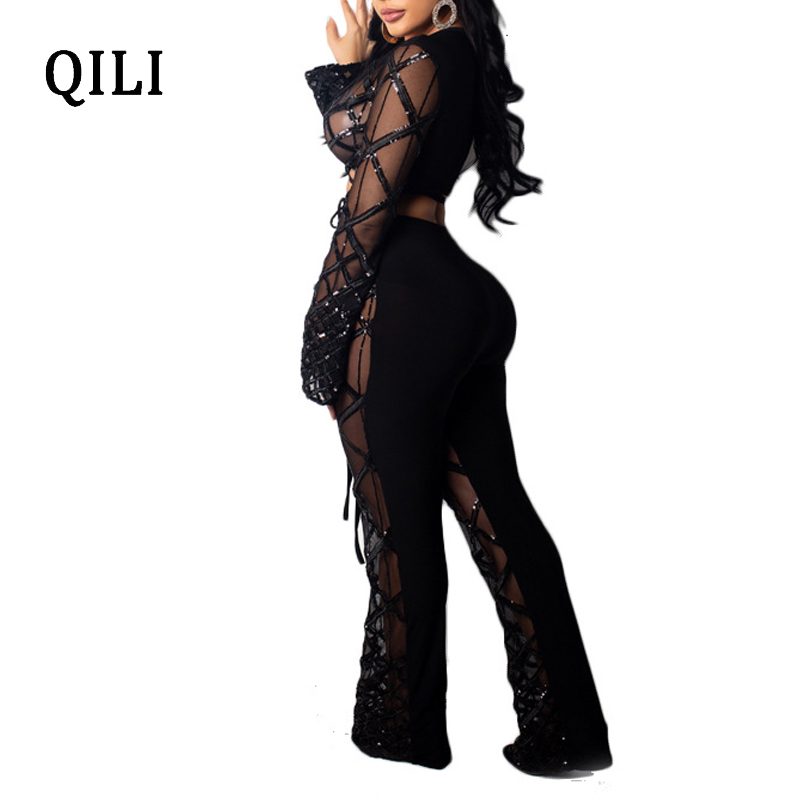 QILI Mesh Sequins Sexy Jumpsuits For Women Plaid Long Sleeve V neck Patchwork Two Piece Set Wide Leg Jumpsuit Romper Club Wear in Jumpsuits from Women 39 s Clothing