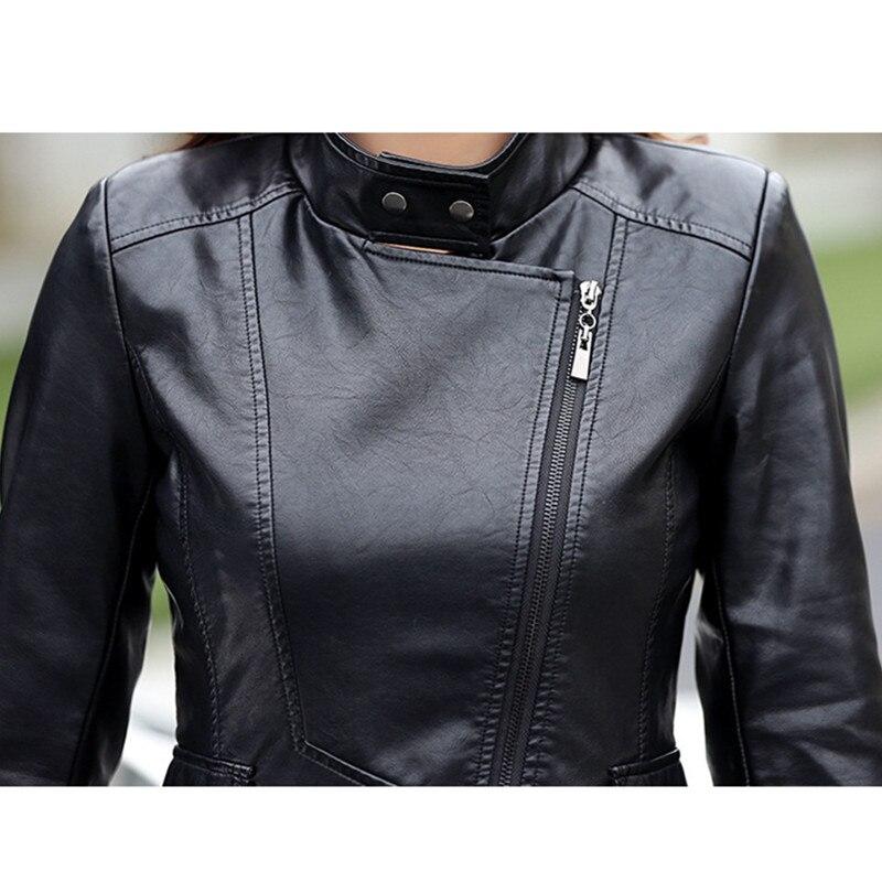 Simili cuir veste en cuir synthétique polyuréthane Punk Rivet femmes moto veste Style Punk noir Faux cuir manteau survêtement Punk - 5
