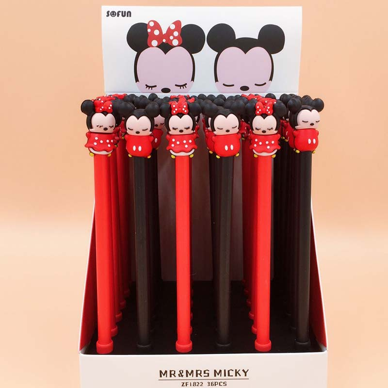 36 Pcs/lot Mickey Gel Pen For Writing Cute Animal Black Ink Signature Pen School Supplies Stationery Gift