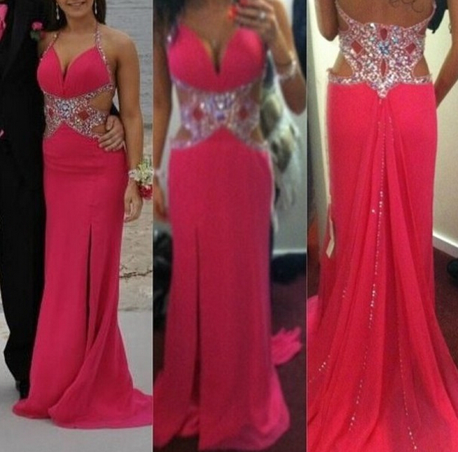 Robe De Soiree Elegant Long Red V-Neck Halter Chiffon Sheath Crystals Beaded Sexy Long party prom gown 2018   bridesmaid     dresses