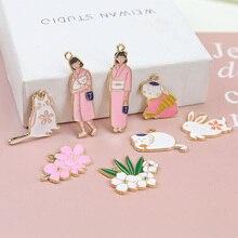 cute animal  rabbit earrings for women child creative cartoon ear jewelry alloy dripping japanese kimono girl flower pendant