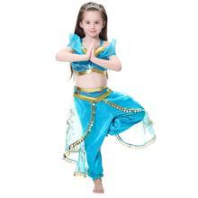 Bobasatop Jasmine Costume Kids with Tiara Magic Wand Princess Dress Up Outfit 3-12 Years