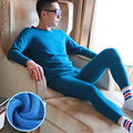 Plus velvet thick warm o-neck winter warm set Men's elastic solid color thermal underwear wj521wj621