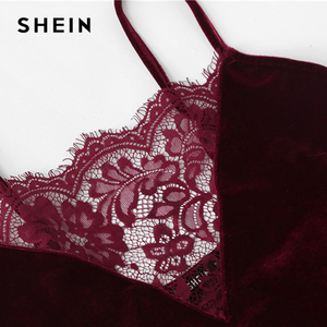 Image 4 - Пижамный комплект SHEIN 2018 с кружевной отделкой, бархатные шорты на бретелях спагетти, женская летняя Пижама без рукавов