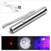 Wasserdichte Edelstahl LED USB Aufladbare Taschenlampe Leistungsstarke Wiederaufladbare Cree Taschenlampe Schlüsselbund Stift Taschenlampe Im Freien Werkzeuge