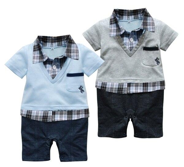 Grey or Blue Gentleman 6-24 Months Baby Short Sleeved Jumpsuit Onesie Romper