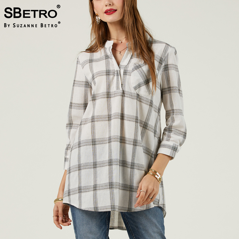 SBetro Plaid Long T shirt Female White Black Placket Front 3/4 Sleeve Tunic Fashion Casual Women Tee Shirts Top