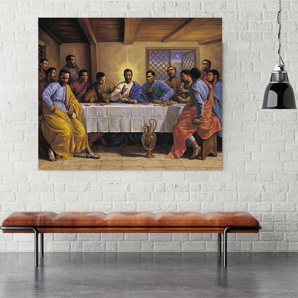 Home Decor Last Supper African American Religious Artwork Print Poster Jesus Figure Painting for Living Room Office Wall
