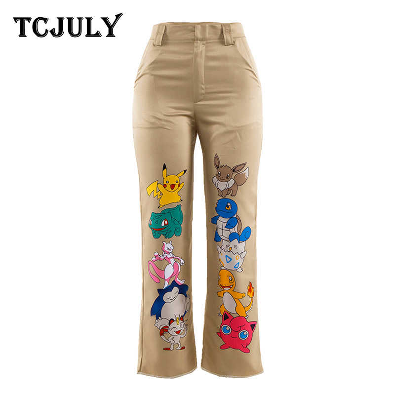 TCJULY New Harajuku Cartoon Print Summer Pants Pocket High Waist Trousers For Women 100% Polyester Streetwear Casual Harem Pants