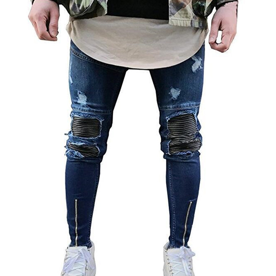 Skinny Jeans Slim Fit Men Ankle Zipper Distressed Denim Joggers Pants Tights Hip Hop Ripped Jeans Male Streetwear Blue White denim