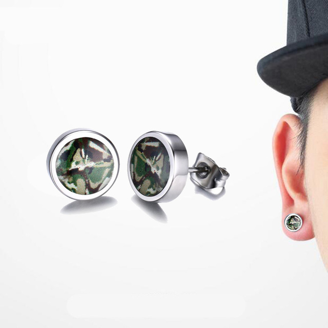 Mens Earrings Green Camouflage Dome Stud Stainless Steel Cabochon Army Military Camo Earring Men Hiphop
