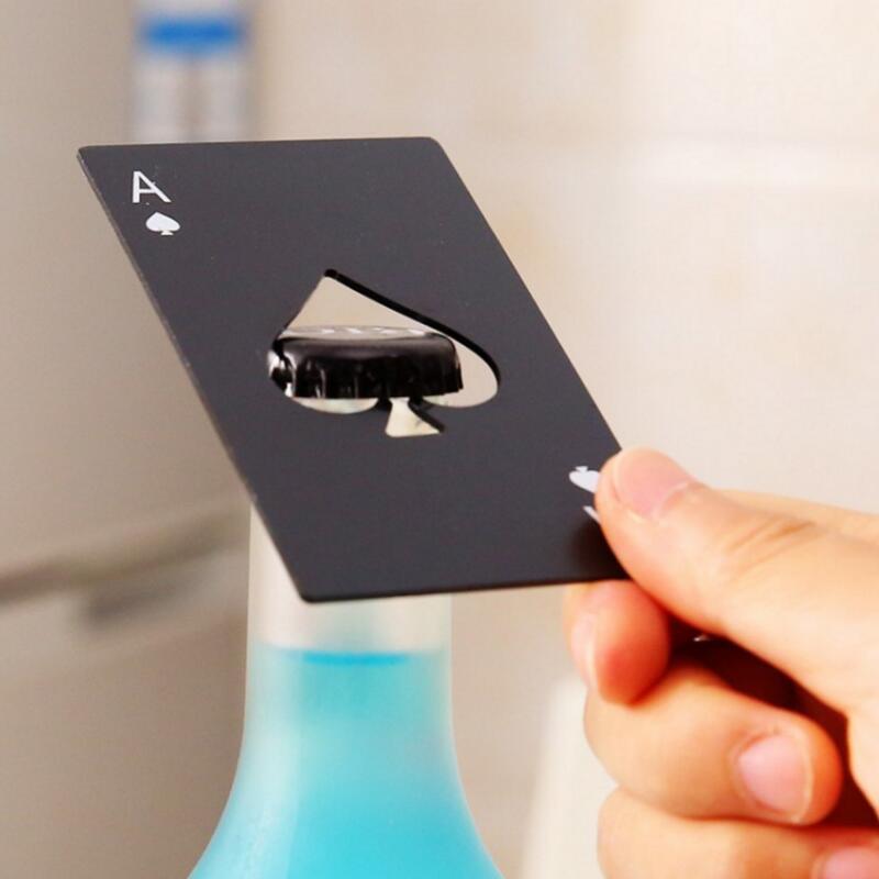Black/Silver Poker Card  Spades Beer Bottle Opener Personalized Stainless Steel Bottle Opener Bar Tool