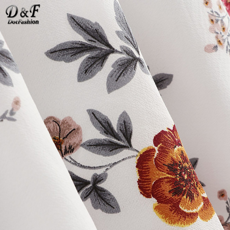 Dotfashion White Surplice Neck Floral Dress Women 2019 Summer Vacation Beach V Neck Butterfly Sleeve A Line High Waist Dress