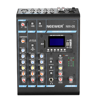 Neewer Stereo 5 Channel Mixer Compact Mini Mixing Console Echo DSP Effects LCD Display Screen Built-in SD card/USB/MP3