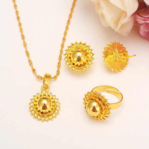 Bangrui 2017 Più Nuovo Oro Jewelry Sets Pendente Dell'anello Orecchini Tradizionale Africana da sposa Habesha Delle Donne Del Partito Africano Bel Regalo
