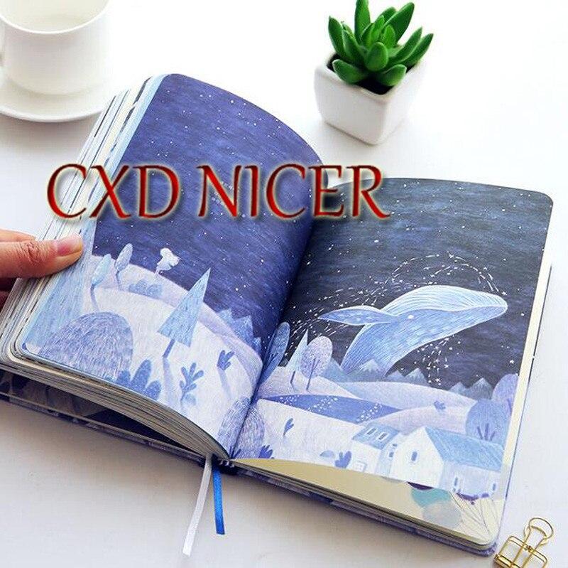 Coreano color pintado a mano página 18*13 cm diario pequeño fresco calendario plan mano libro DD1453
