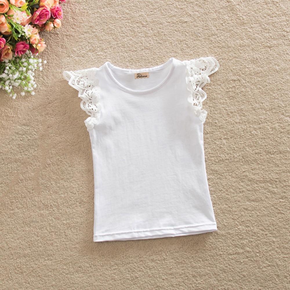 Top Sale 2018 Brand Kids Baby Girls Summer T-shirts Casual Sleeveless Spliced Lace Tee Shirt Tops Cotton Children Girls Outfits