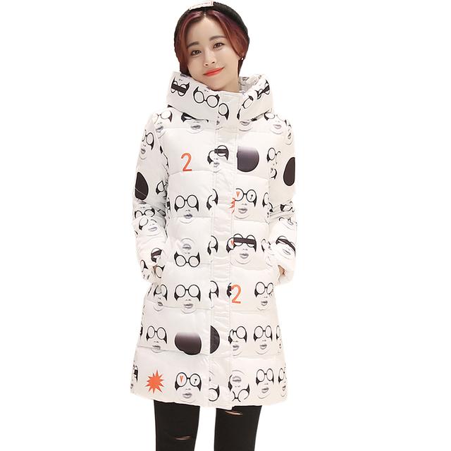 Meninas novas Algodão inverno impressão casaco Fino acolchoado com capuz Engrossar as mulheres jaqueta Casaco Parka