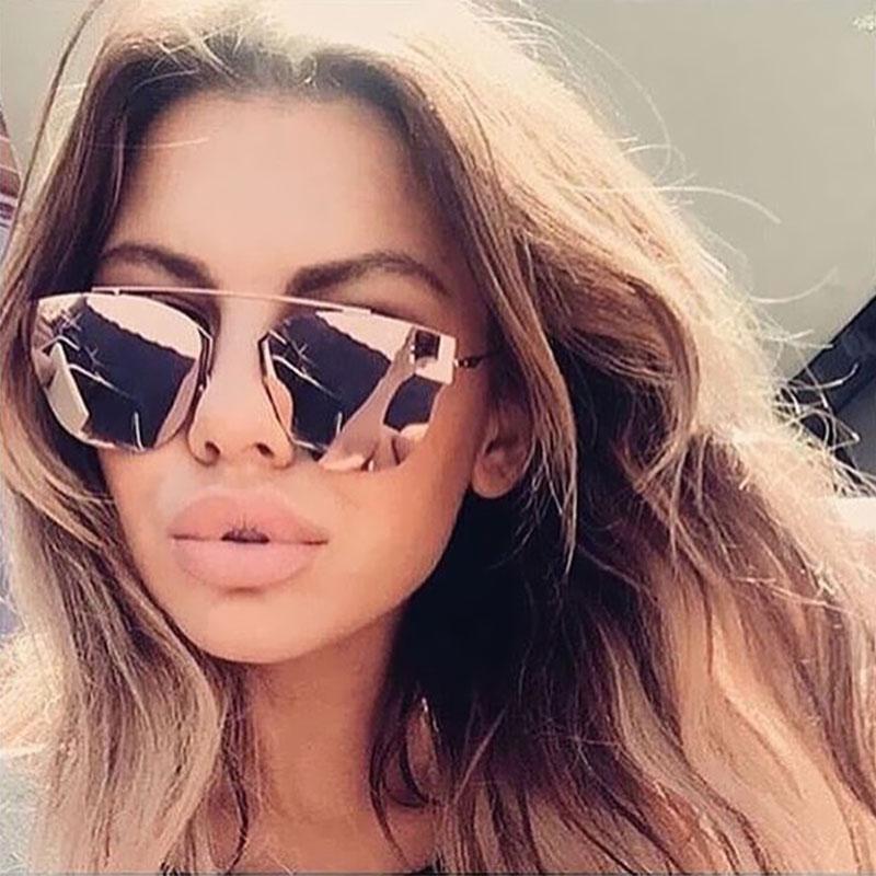 18bb0968a3d Coodaysuft Cat Eye Mirror New Arrival 2016 Sungles Single Bridge Women Men  Uv400 Point Sun Gles