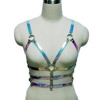 SexyPunk Women Men Holographic Vinyl PVC Body Harness Hologram Rainbow Bonage Top Bra Caged Leather Belt
