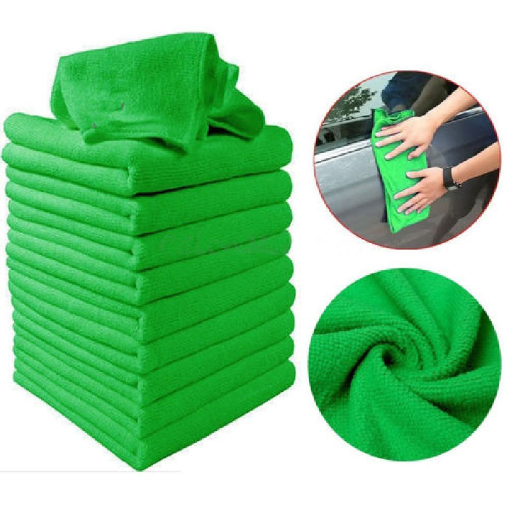 5pcs Car Wash Towel Microfiber Cloth Door Window 25x25cm Thick Cleaning Strong Water Absorption For Car Home 4 Colors