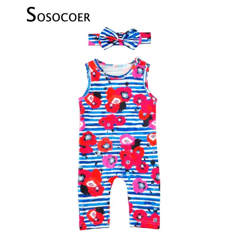 SOSOCOER Baby Girls Romper Jumpsuit 2017 Sommar Stripe Flower - Babykläder