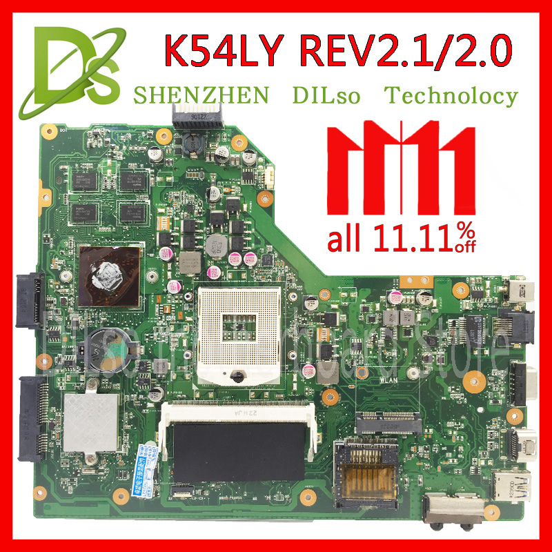 KEFU K54LY For ASUS K54LY X54H K54HR X84H laptop motherboard K54LY mainboard rev2.1/2.0 Test motherboard k54hr x54h k54ly laptop motherboard for asus for i3 cpu full tested ok 6 months warranty