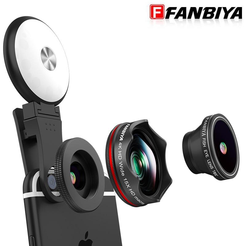 FANBIYA 4in 1 Smartphone Camera Lenses LED Flash Selfie + Mobile 4K Wide Angle +15x Macro Lens+230 Fish eye Clip Lens for iphone