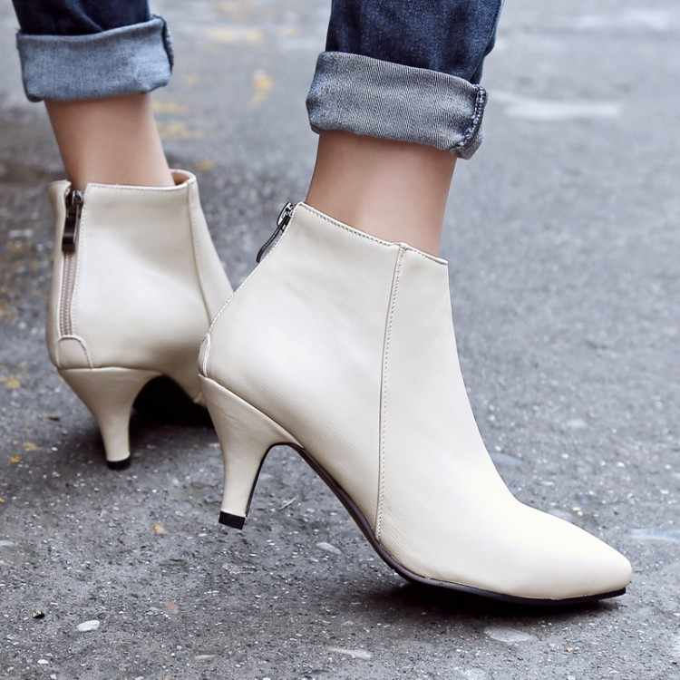Große Größe Ma'am Kurze stiefel Reine farbe Mode boot barrel Wies Hohe stiefel