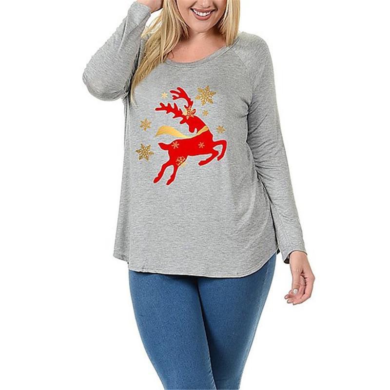 Spring Winter Long Sleeve T Shirt Women Christmas Elk Deer Printed T-Shirt Female Casual Tees Top WS4647V