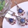 Blucome Классический Стиль Турецкий Старинные Ювелирные Изделия Устанавливает Ожерелье и Серьги Скульптура Ремесло Полный Кристаллы Стеклянных Камней Античное Золото