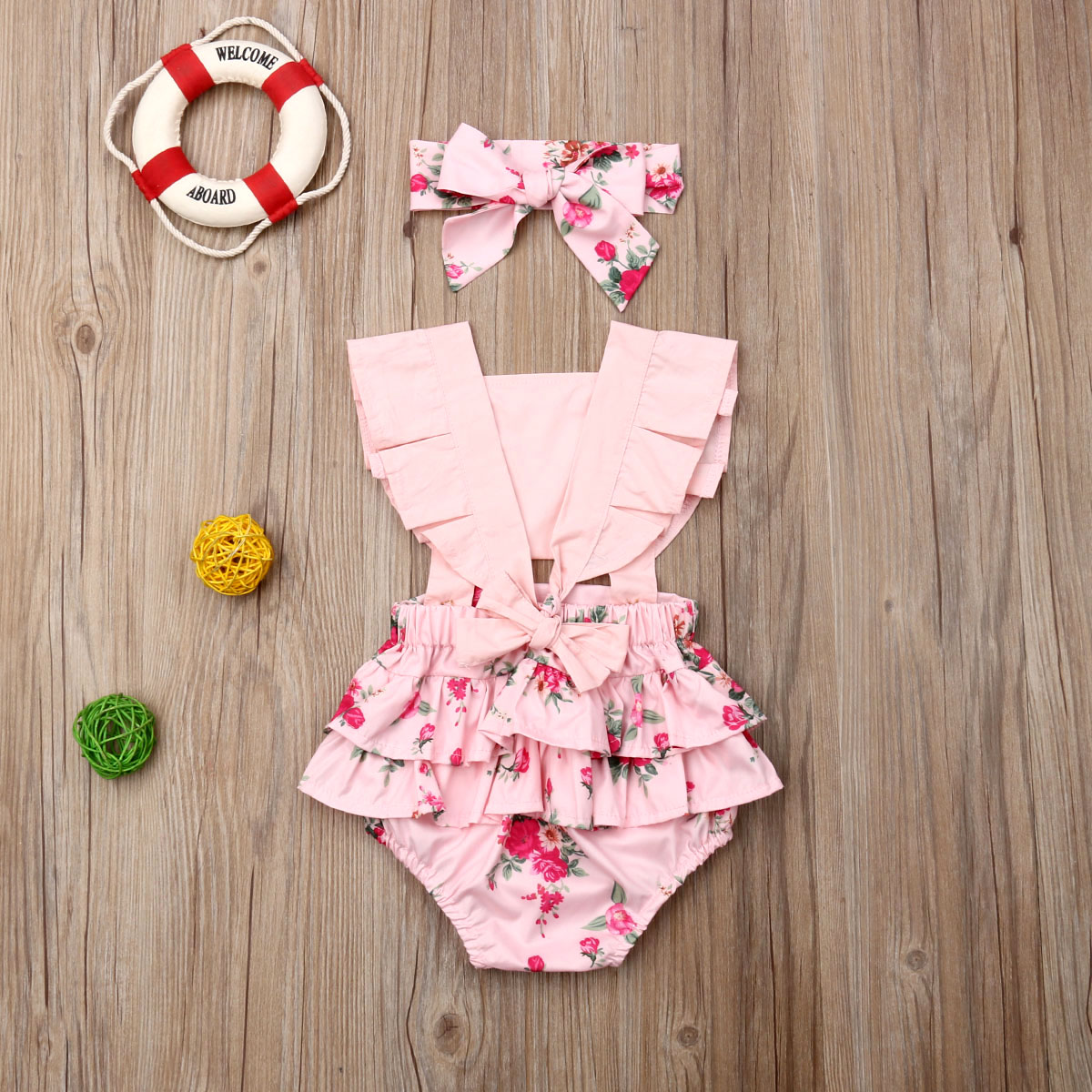 Pudcoco Summer Newborn Baby Girl Clothes Sleeveless Button Flower Print Romper Jumpsuit Bowknot Headband 2Pcs Outfits Clothes