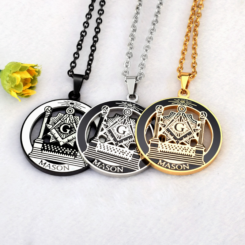 все цены на SOITIS Free-mason Hip Hop Stainless Steel Past Master Masonic Free Mason Freemasonry Pendants Mason Necklaces Gold Color