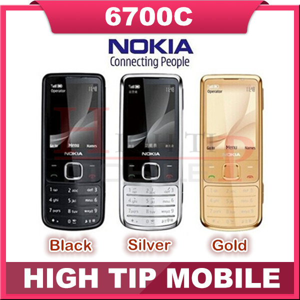hot sell Nokia Unlocked Original 6700C 6700 Classic Gold mobile Phones 5MP free leather case Russian