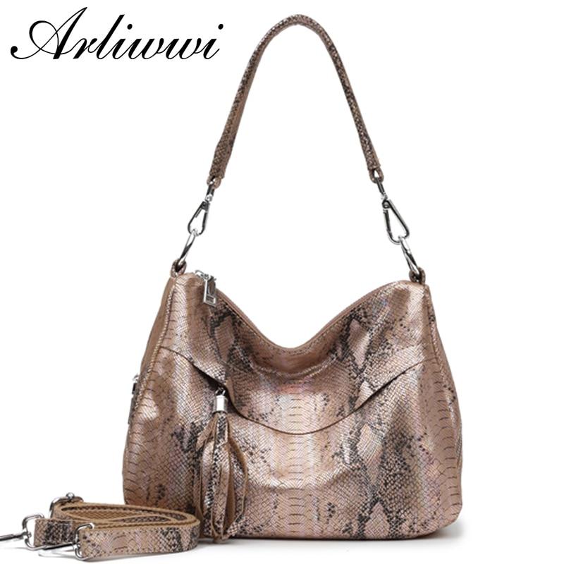 Arliwwi Elegant Lady Real Leather Snake Embossed Bags Handbags New Medium Silver Accessory Genuine Cowhide Leather