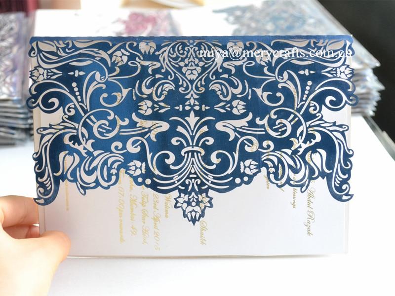 Paper Invitation Mariage Chinese Royal Blue Wedding Invitations