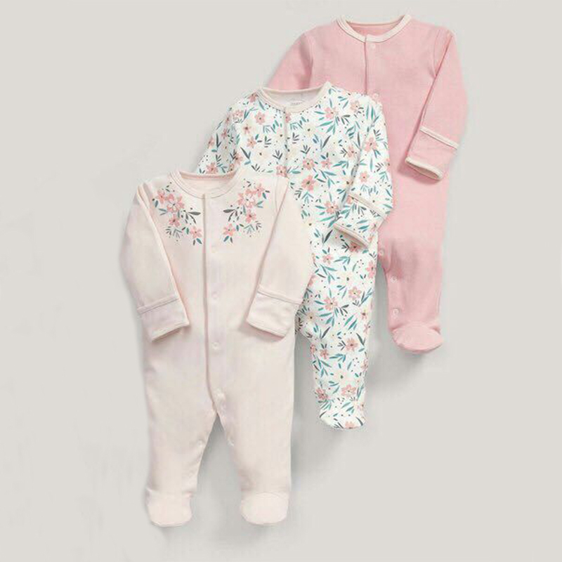 Baby Rompers 3pcs Flower Sleepsuit Baby Girl Pajamas Newborn Boy Clothes Baby Girl Romper Infant Baby Jumpsuit Underwear Cotton
