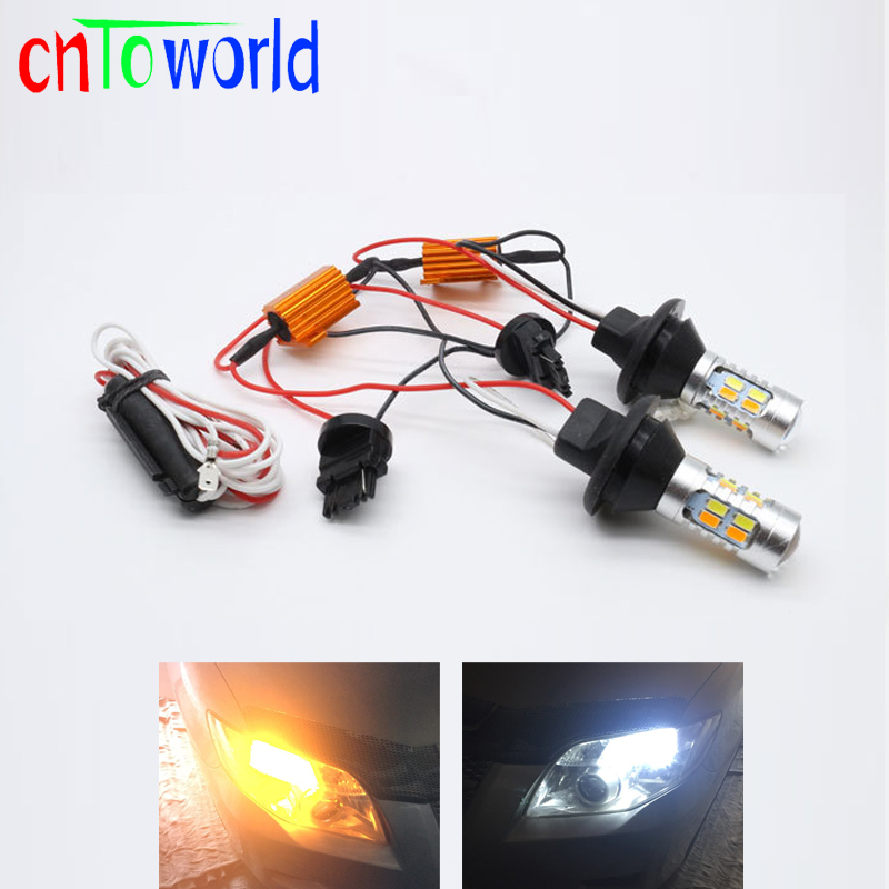 Super Bright 1156 P21W BA15S Bau15S 7440 20SMD Canbus Error Free Dual Color Amber White Switchback LED DRL Turn Signal Light