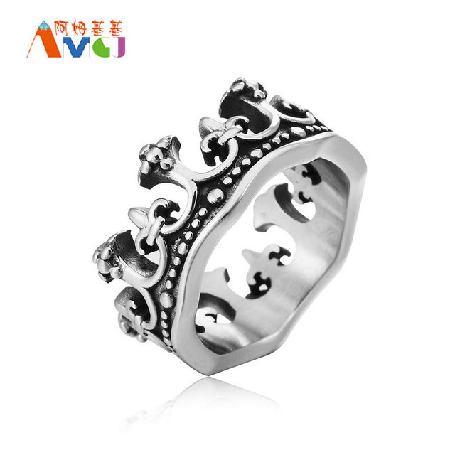 AMGJek 11.6mm Vintage Crown Ring Roman Titanium Steel Men Rings Unisex Anniversary Jewelry US Size 7-12 F009