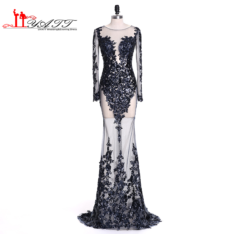 LIYATT Real Picture 2016 New Navy Blue Sexy Mermaid See Through Long Sleeves Sequins Lace Appliques Formal Evening Prom Dresses image