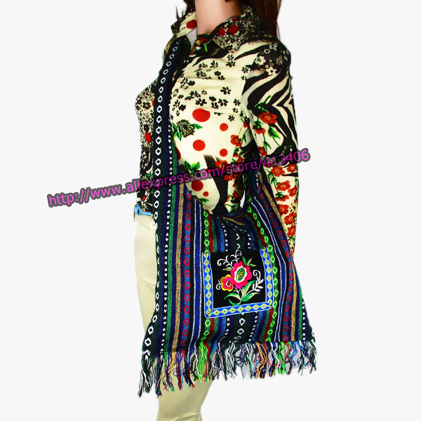 Vintage Hmong Tribal Ethnic Thai Indian Boho shoulder bag message bag linen handmade embroidery Tapestry SYS-083E