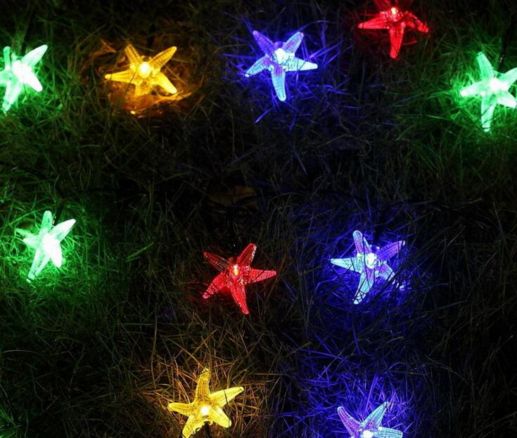 2pcs Solar Power LED Starfish Lamp Light multicolour String Strap For Garland Wedding Christmas Venue Decoration