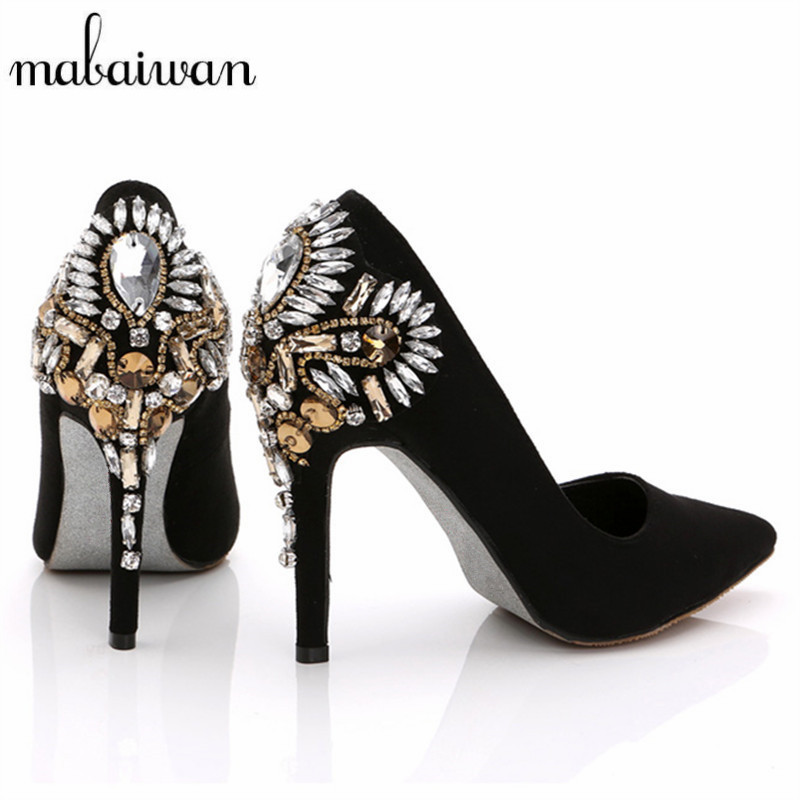 2017 New Fashion Handmade Stiletto Rhinestone High Heels Pointed Toe Women Pumps Wedding Dress Shoes Woman Sapato Feminino fashion women wedding shoes rhinestone square buckle 90mm middle stiletto heels low cut vamp pointed toe jeweled bridal shoes
