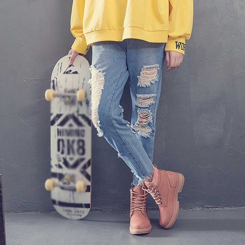 Women Boots Solid Lace Up Casual Ankle Boots Round Toe Shoes Student Snow Boots Classic Winter Warm Ladies Shoes T## 26